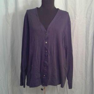 LL Bean 2X top LS Button front tee shirt